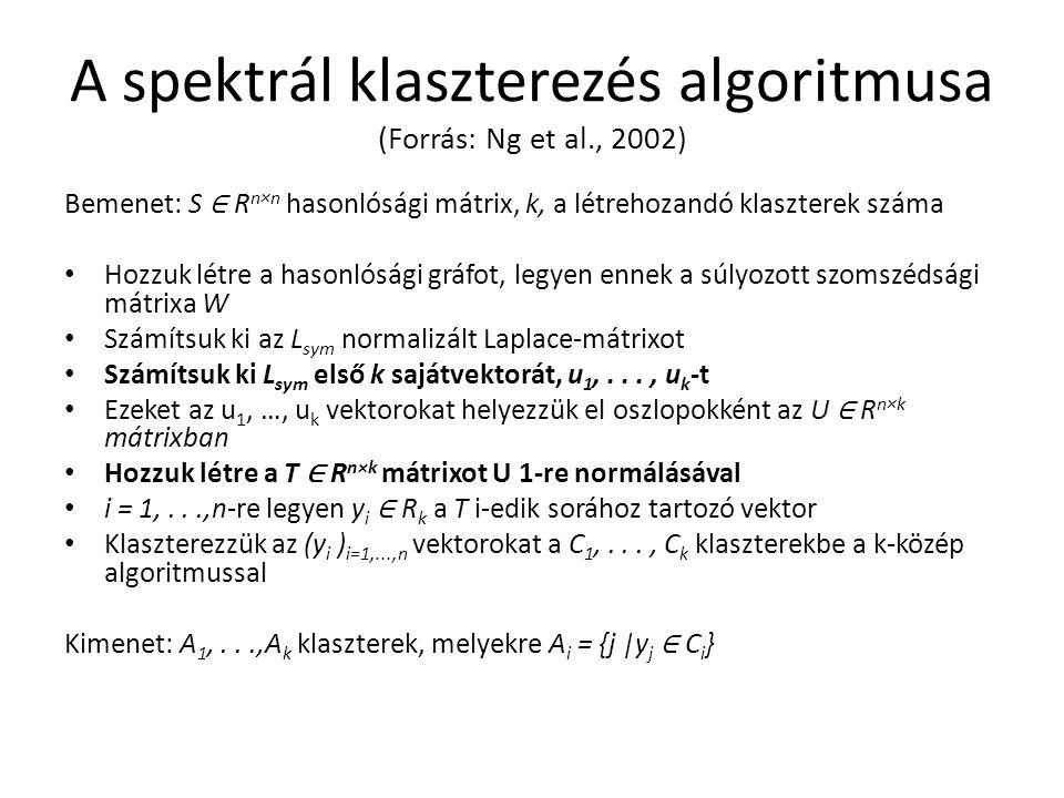A spektrál klaszterezés algoritmusa (Forrás: Ng et al., 2002) Bemenet: S ∈ R n×n hasonlósági mátrix, k, a létrehozandó klaszterek száma Hozzuk létre a hasonlósági gráfot, legyen ennek a súlyozott szomszédsági mátrixa W Számítsuk ki az L sym normalizált Laplace-mátrixot Számítsuk ki L sym első k sajátvektorát, u 1,..., u k -t Ezeket az u 1, …, u k vektorokat helyezzük el oszlopokként az U ∈ R n×k mátrixban Hozzuk létre a T ∈ R n×k mátrixot U 1-re normálásával i = 1,...,n-re legyen y i ∈ R k a T i-edik sorához tartozó vektor Klaszterezzük az (y i ) i=1,...,n vektorokat a C 1,..., C k klaszterekbe a k-közép algoritmussal Kimenet: A 1,...,A k klaszterek, melyekre A i = {j |y j ∈ C i }