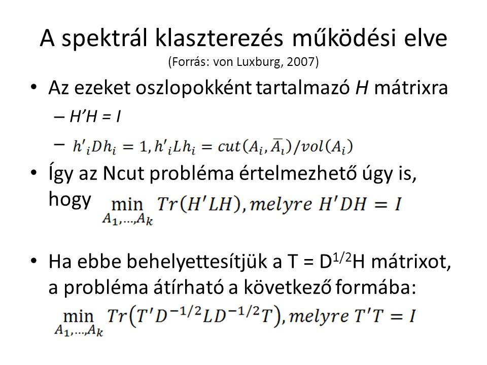 A spektrál klaszterezés működési elve (Forrás: von Luxburg, 2007) Az ezeket oszlopokként tartalmazó H mátrixra – H'H = I – Így az Ncut probléma értelmezhető úgy is, hogy Ha ebbe behelyettesítjük a T = D 1/2 H mátrixot, a probléma átírható a következő formába: