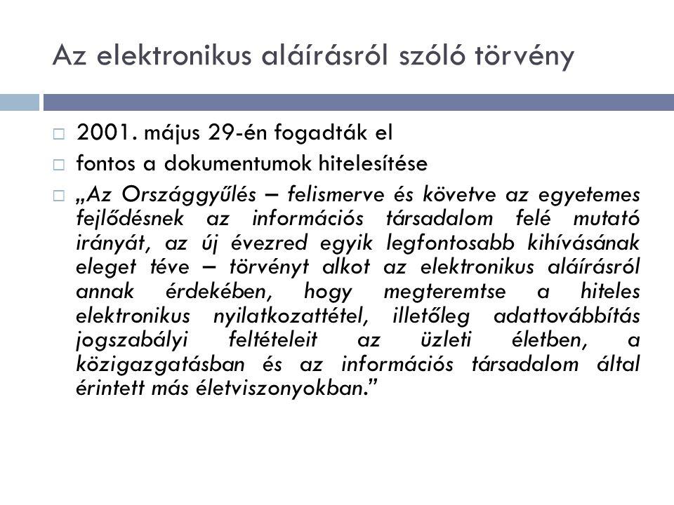 Az elektronikus aláírásról szóló törvény  2001.
