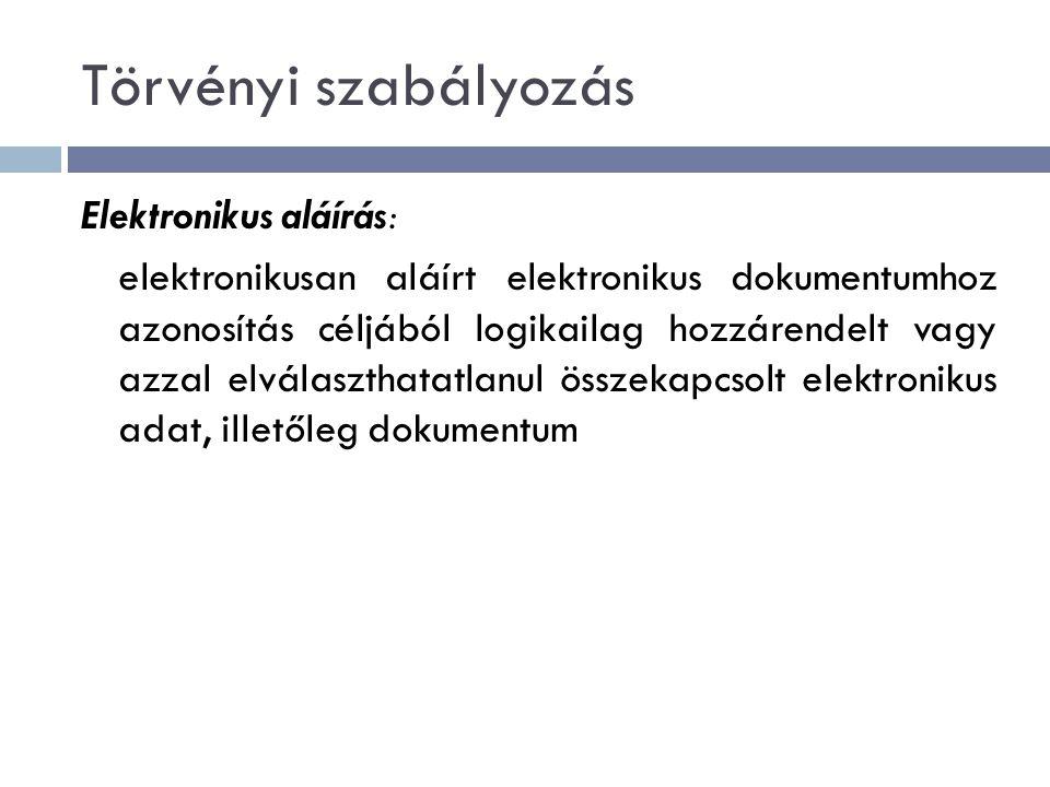 Törvényi szabályozás Elektronikus aláírás: elektronikusan aláírt elektronikus dokumentumhoz azonosítás céljából logikailag hozzárendelt vagy azzal elválaszthatatlanul összekapcsolt elektronikus adat, illetőleg dokumentum