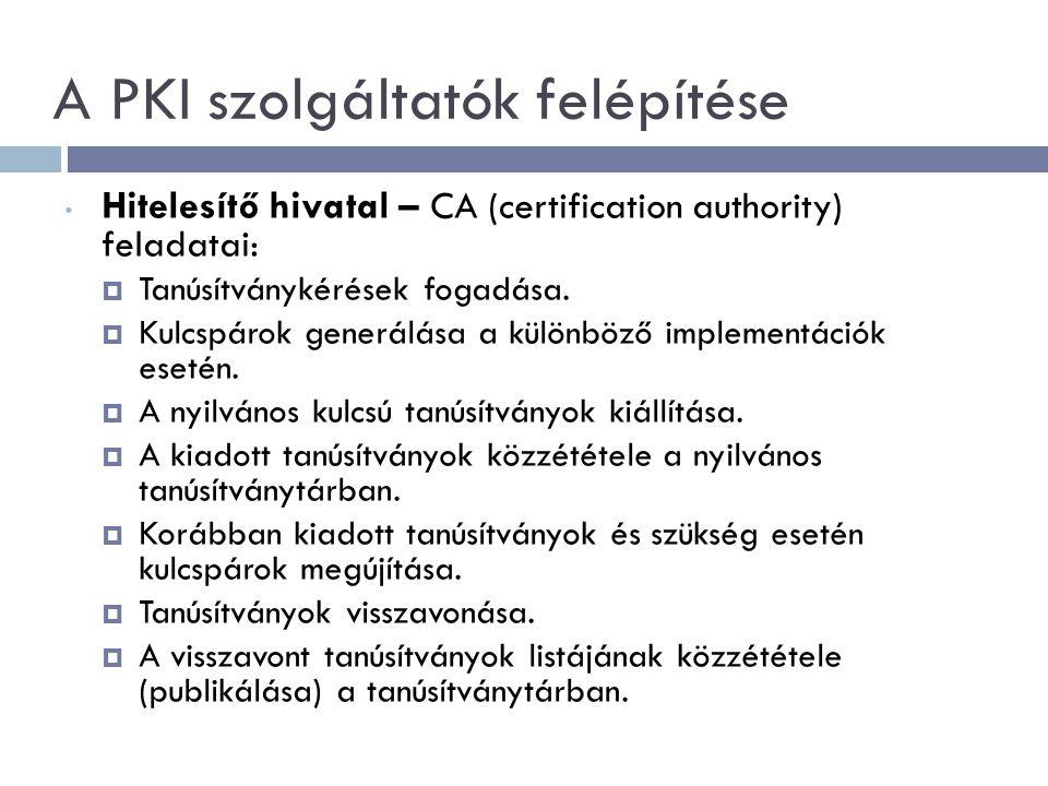 A PKI szolgáltatók felépítése Hitelesítő hivatal – CA (certification authority) feladatai:  Tanúsítványkérések fogadása.