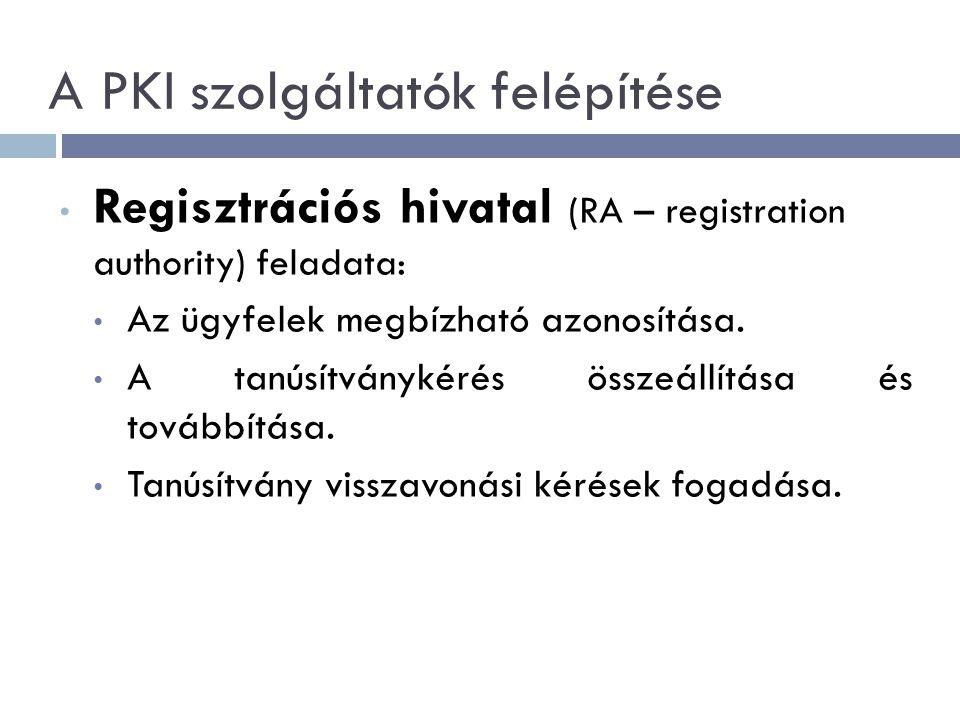 A PKI szolgáltatók felépítése Regisztrációs hivatal (RA – registration authority) feladata: Az ügyfelek megbízható azonosítása.