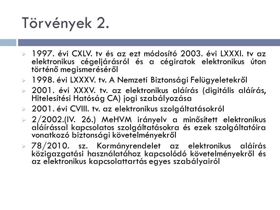 Törvények 2.  1997. évi CXLV. tv és az ezt módosító 2003.