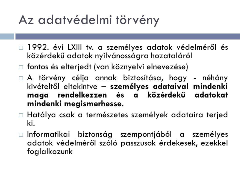 Az adatvédelmi törvény  1992. évi LXIII tv.