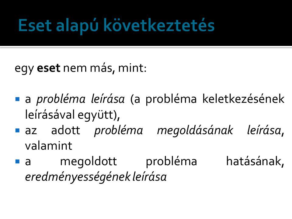 egy eset nem más, mint:  a probléma leírása (a probléma keletkezésének leírásával együtt),  az adott probléma megoldásának leírása, valamint  a meg