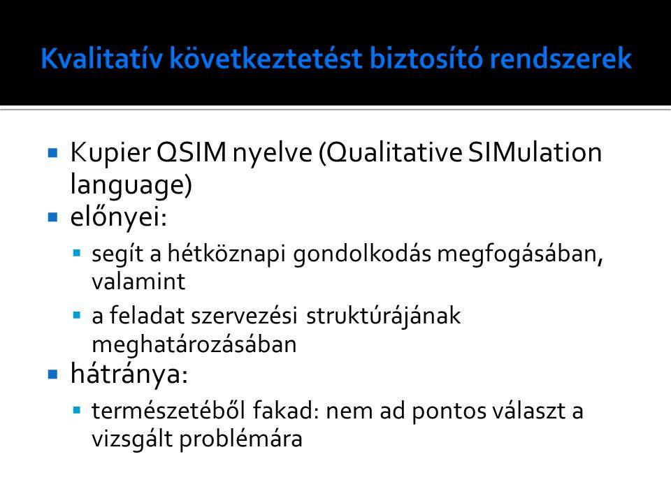  Kupier QSIM nyelve (Qualitative SIMulation language)  előnyei:  segít a hétköznapi gondolkodás megfogásában, valamint  a feladat szervezési struk