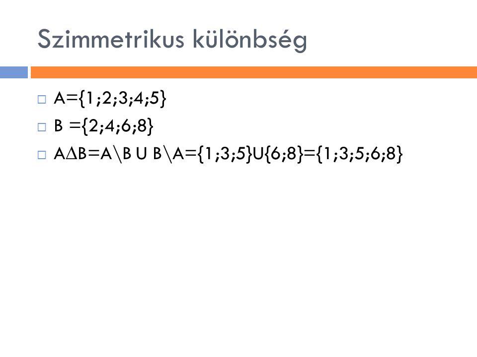 Szimmetrikus különbség  A={1;2;3;4;5}  B ={2;4;6;8}  A ∆ B=A\B U B\A={1;3;5}U{6;8}={1;3;5;6;8}