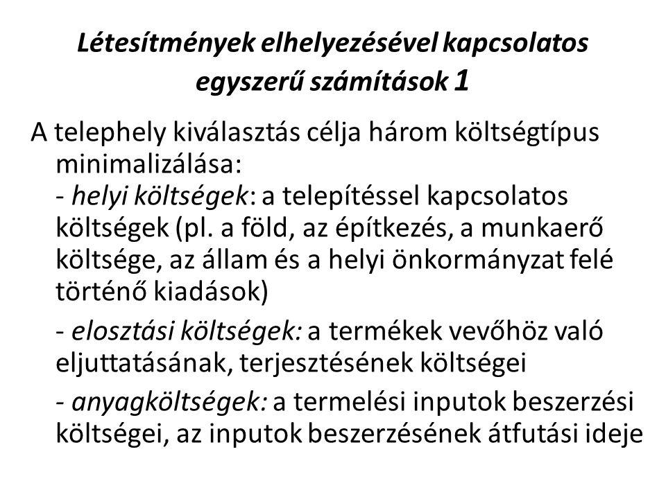 Létesítmények elhelyezésével kapcsolatos egyszerű számítások 1 A telephely kiválasztás célja három költségtípus minimalizálása: - helyi költségek: a telepítéssel kapcsolatos költségek (pl.