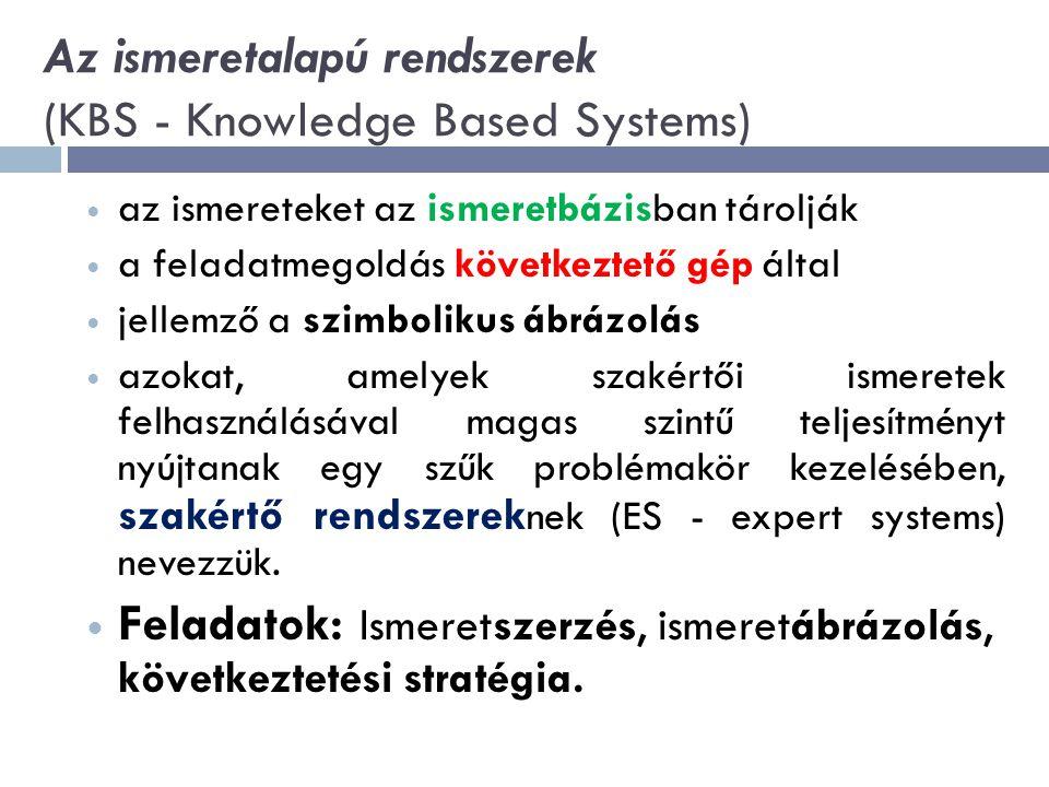 Az ismeretalapú rendszerek (KBS - Knowledge Based Systems) az ismereteket az ismeretbázisban tárolják a feladatmegoldás következtető gép által jellemző a szimbolikus ábrázolás azokat, amelyek szakértői ismeretek felhasználásával magas szintű teljesítményt nyújtanak egy szűk problémakör kezelésében, szakértő rendszerek nek (ES - expert systems) nevezzük.