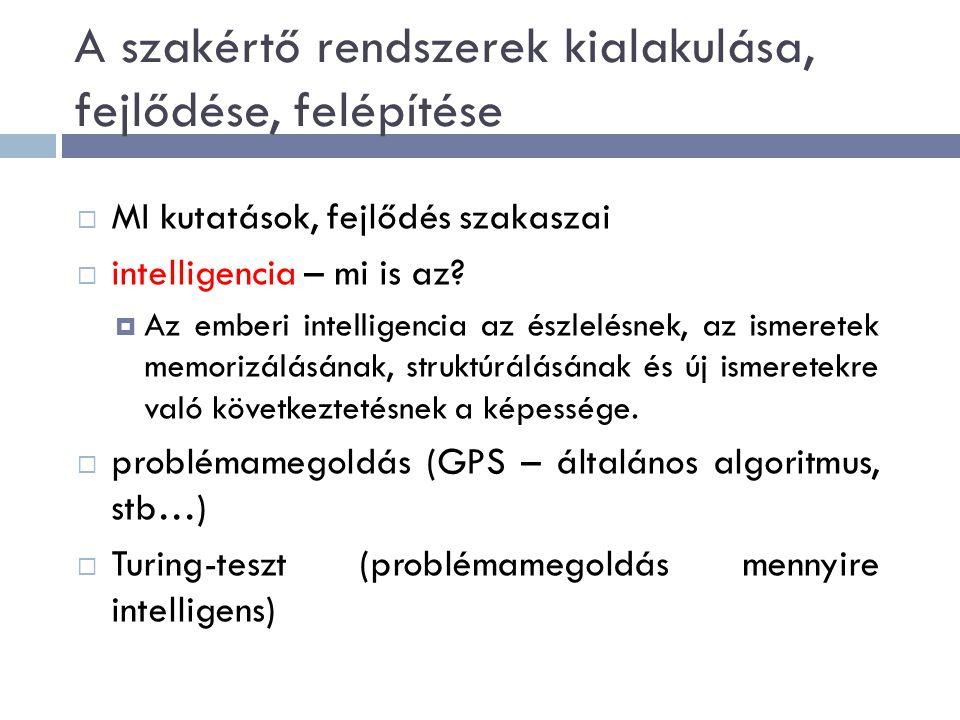 A szakértő rendszerek kialakulása, fejlődése, felépítése  MI kutatások, fejlődés szakaszai  intelligencia – mi is az.