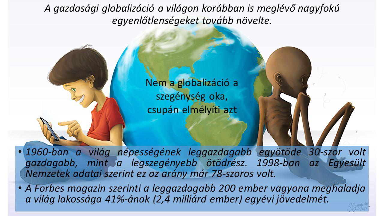 A gazdasági globalizáció a világon korábban is meglévő nagyfokú egyenlőtlenségeket tovább növelte. 1960-ban a világ népességének leggazdagabb egyötöde