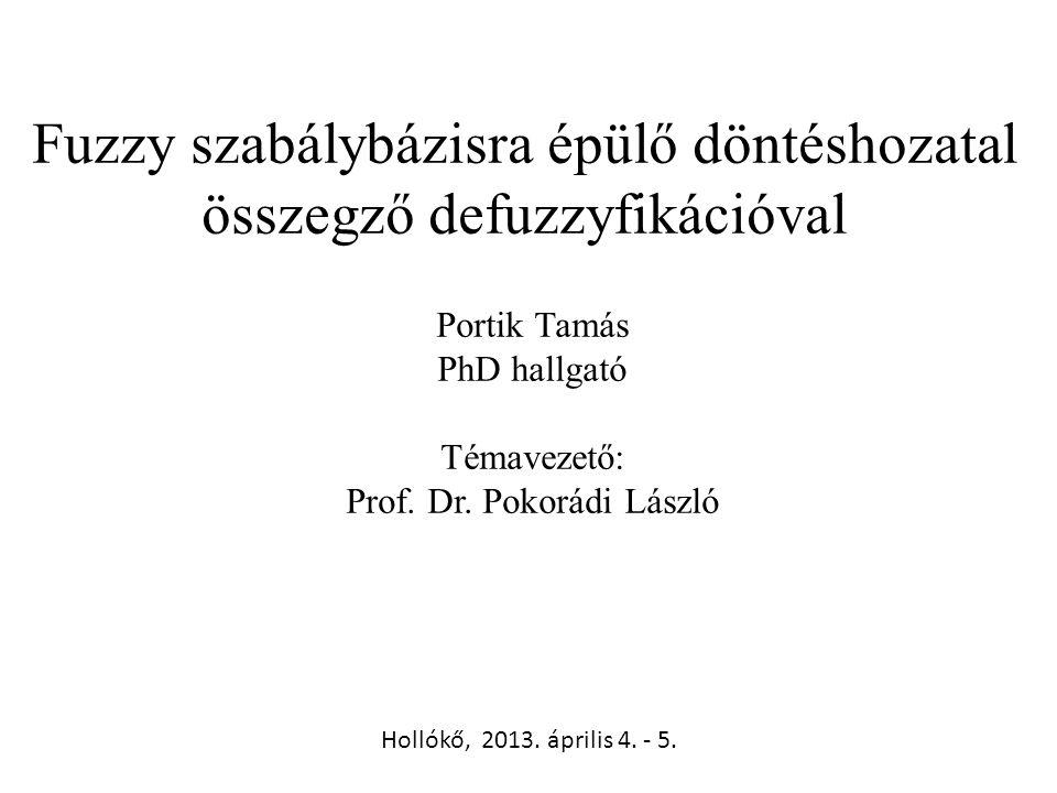 Fuzzy szabálybázisra épülő döntéshozatal összegző defuzzyfikációval Portik Tamás PhD hallgató Témavezető: Prof. Dr. Pokorádi László Hollókő, 2013. ápr