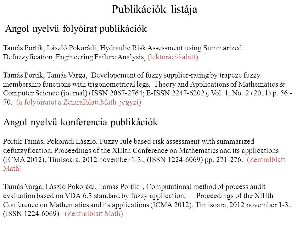 Angol nyelvű folyóirat publikációk Tamás Portik, László Pokorádi, Hydraulic Risk Assessment using Summarized Defuzzyfication, Engineering Failure Anal