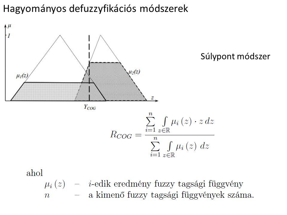 Hagyományos defuzzyfikációs módszerek Súlypont módszer