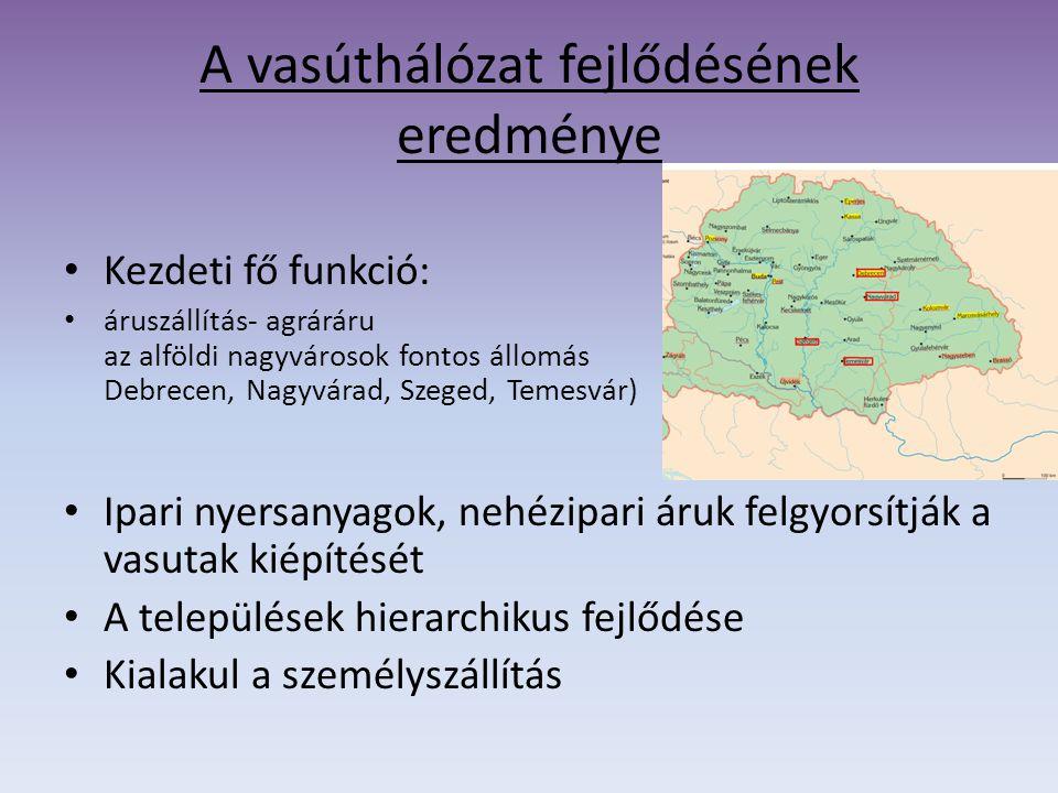 A vasúthálózat fejlődésének eredménye Kezdeti fő funkció: áruszállítás- agráráru az alföldi nagyvárosok fontos állomás Debrecen, Nagyvárad, Szeged, Te