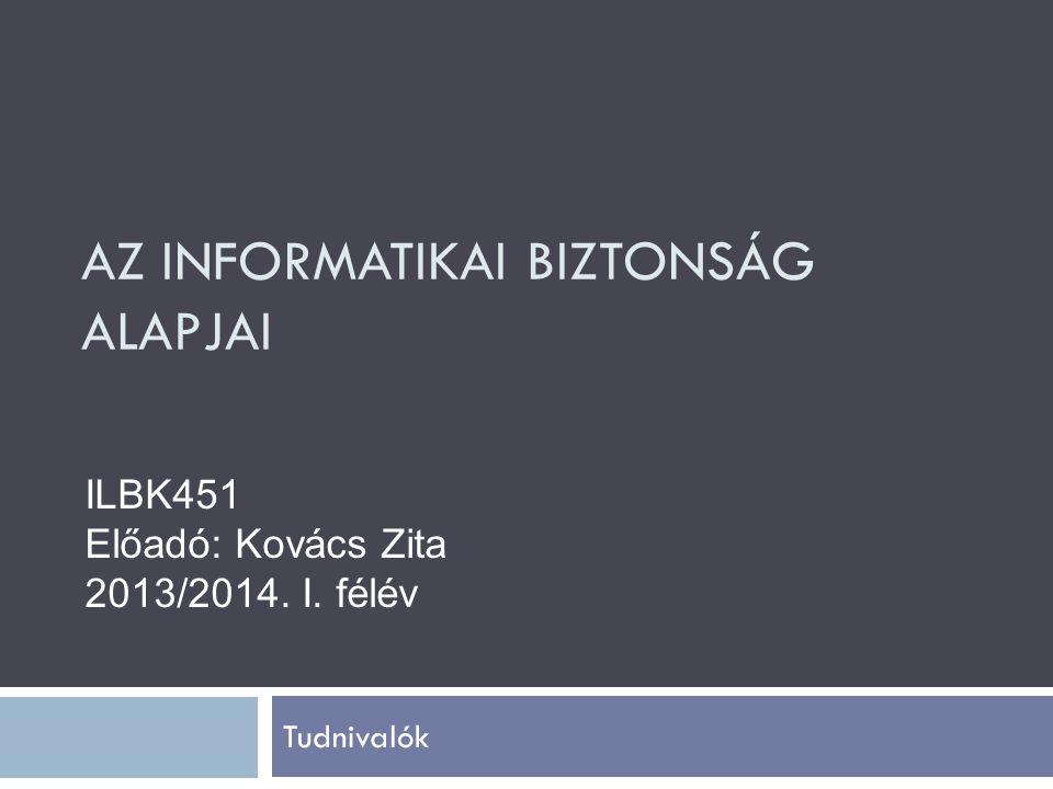AZ INFORMATIKAI BIZTONSÁG ALAPJAI Tudnivalók ILBK451 Előadó: Kovács Zita 2013/2014. I. félév