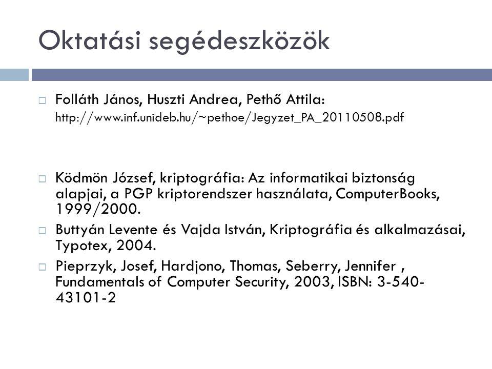 Oktatási segédeszközök  Folláth János, Huszti Andrea, Pethő Attila: http://www.inf.unideb.hu/~pethoe/Jegyzet_PA_20110508.pdf  Ködmön József, kriptog
