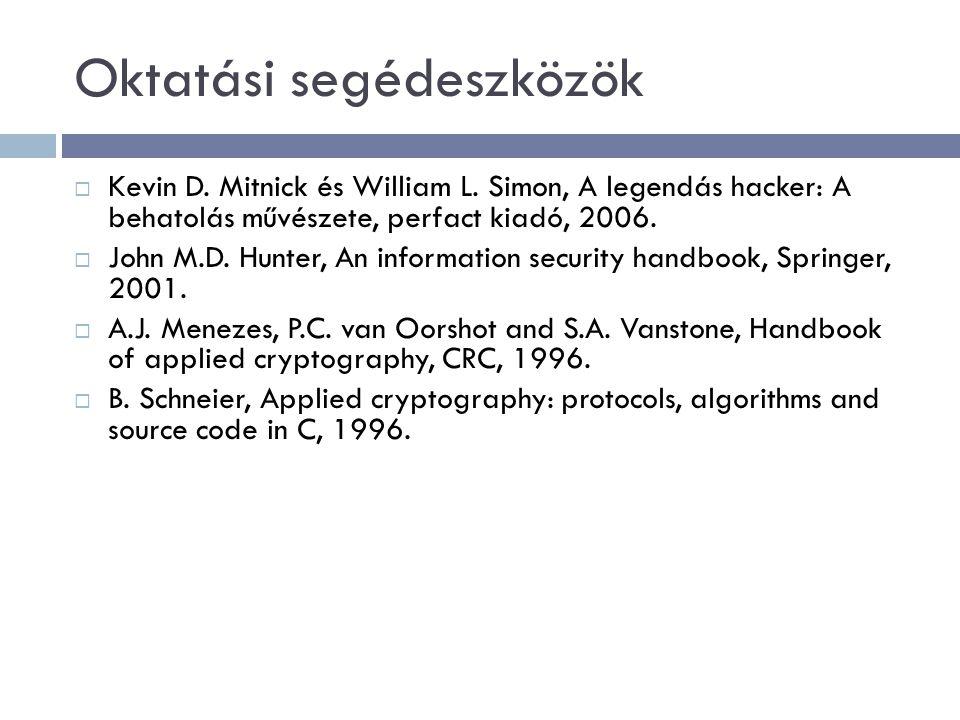 Oktatási segédeszközök  Kevin D. Mitnick és William L. Simon, A legendás hacker: A behatolás művészete, perfact kiadó, 2006.  John M.D. Hunter, An i