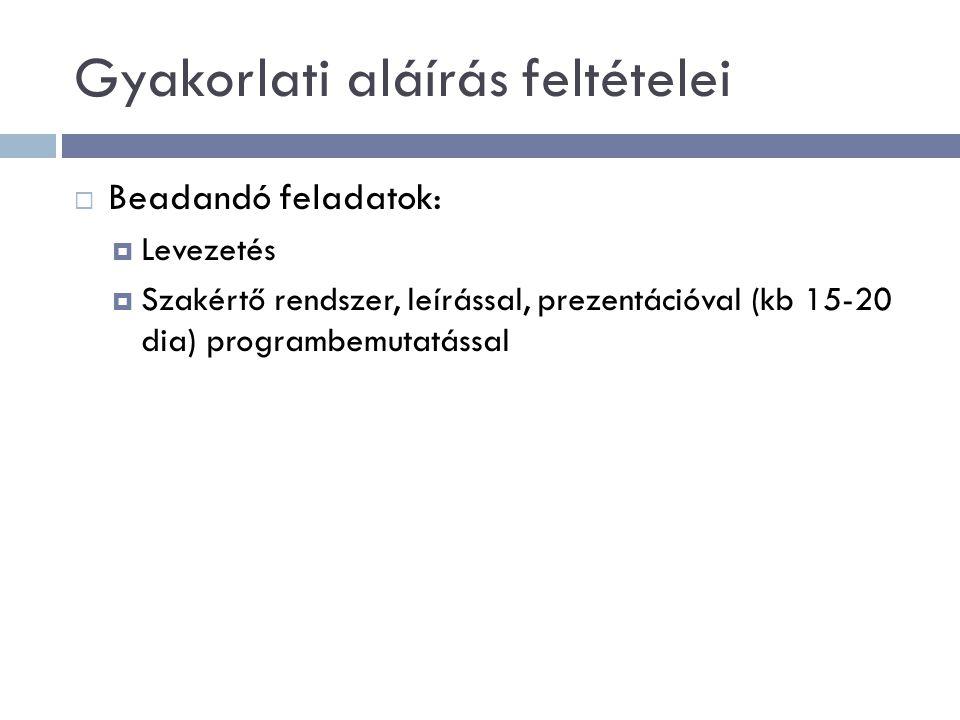 Gyakorlati aláírás feltételei  Beadandó feladatok:  Levezetés  Szakértő rendszer, leírással, prezentációval (kb 15-20 dia) programbemutatással