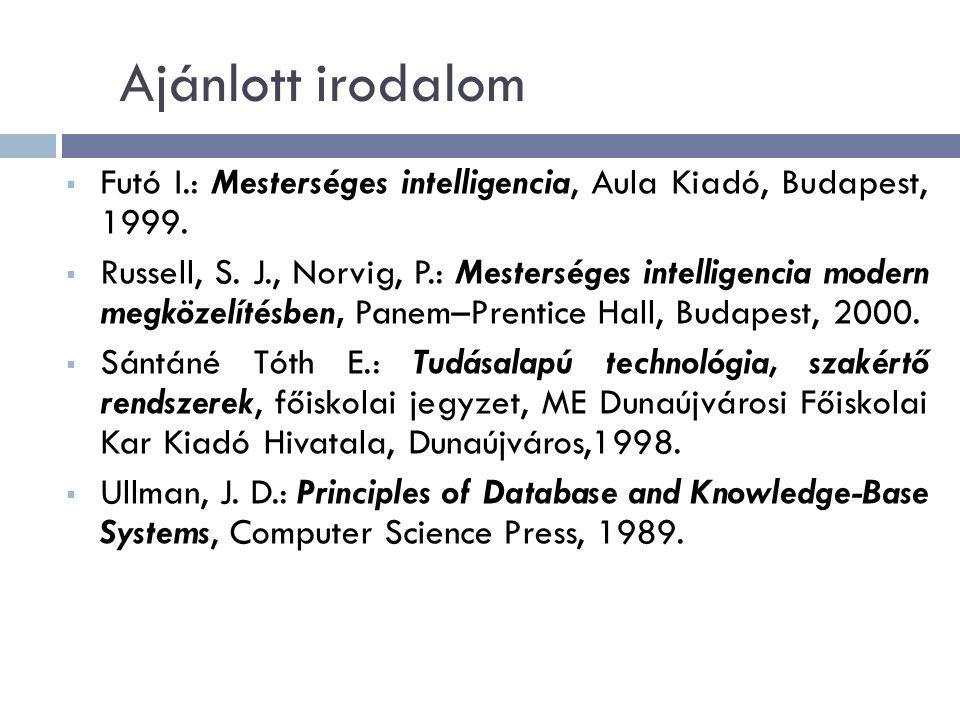 Ajánlott irodalom  Futó I.: Mesterséges intelligencia, Aula Kiadó, Budapest, 1999.
