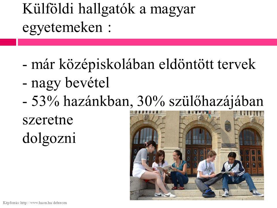 Külföldi hallgatók a magyar egyetemeken : - már középiskolában eldöntött tervek - nagy bevétel - 53% hazánkban, 30% szülőhazájában szeretne dolgozni K