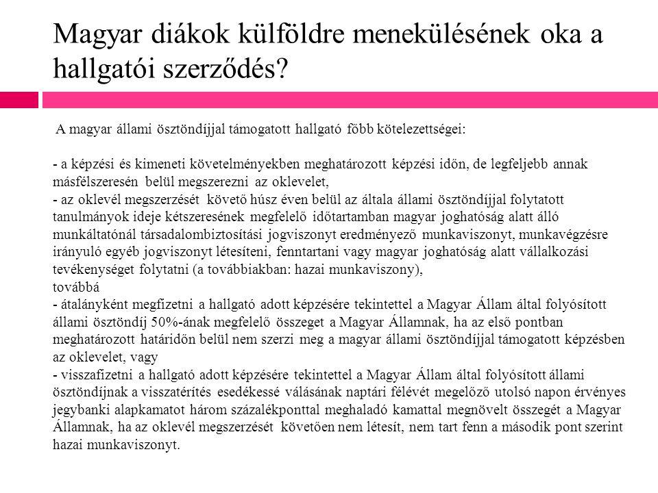 Magyar diákok külföldre menekülésének oka a hallgatói szerződés? A magyar állami ösztöndíjjal támogatott hallgató főbb kötelezettségei: - a képzési és