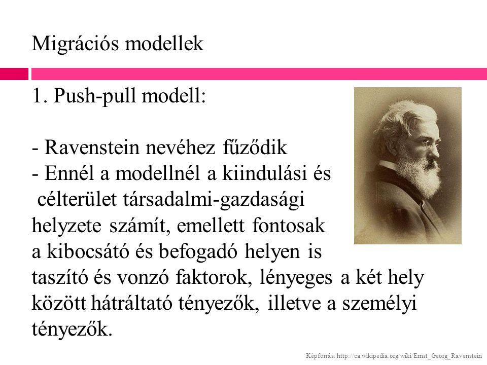 Migrációs modellek 1. Push-pull modell: - Ravenstein nevéhez fűződik - Ennél a modellnél a kiindulási és célterület társadalmi-gazdasági helyzete szám