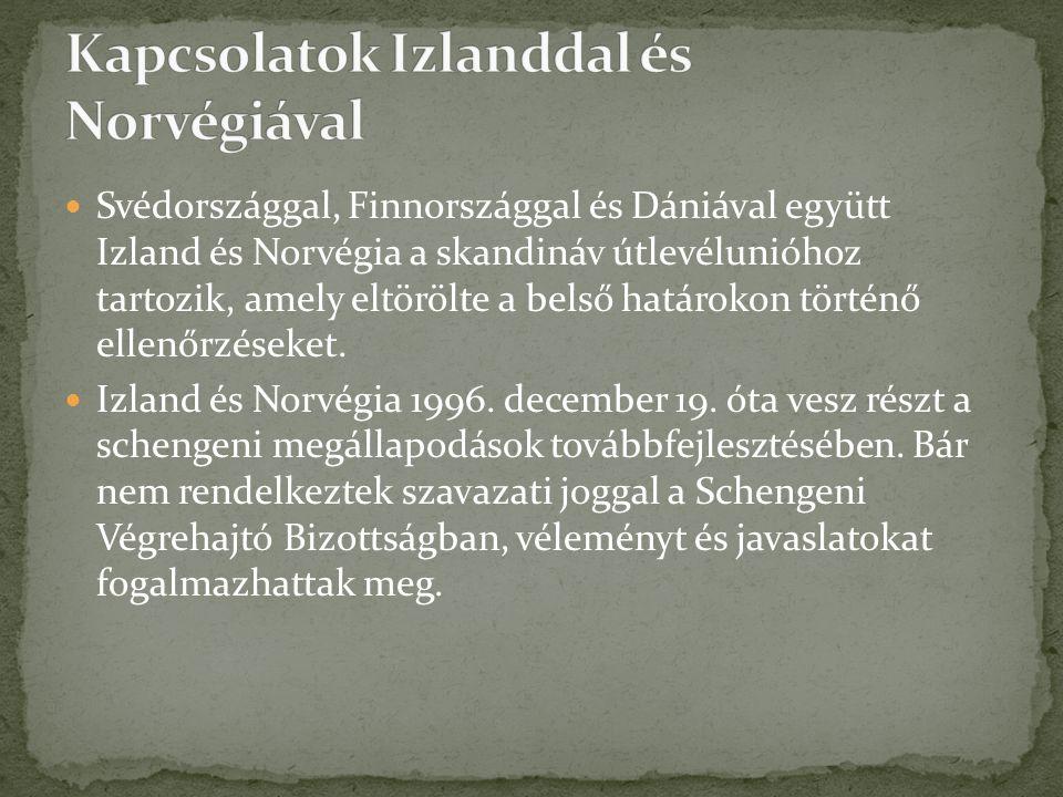 Svédországgal, Finnországgal és Dániával együtt Izland és Norvégia a skandináv útlevélunióhoz tartozik, amely eltörölte a belső határokon történő elle
