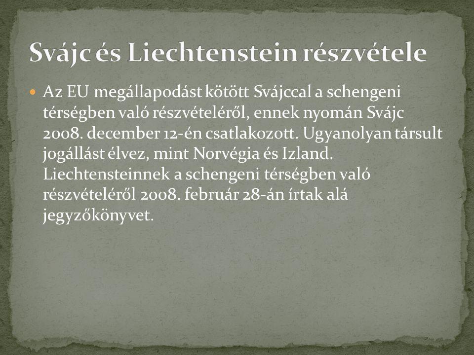 Az EU megállapodást kötött Svájccal a schengeni térségben való részvételéről, ennek nyomán Svájc 2008. december 12-én csatlakozott. Ugyanolyan társult