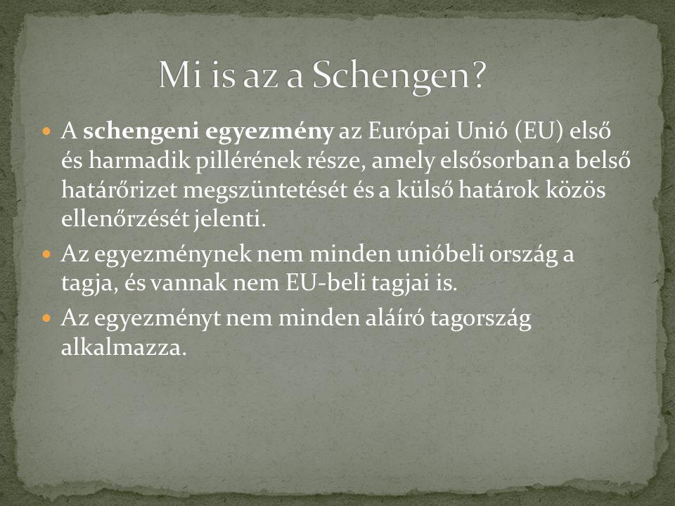 A schengeni egyezmény az Európai Unió (EU) első és harmadik pillérének része, amely elsősorban a belső határőrizet megszüntetését és a külső határok k