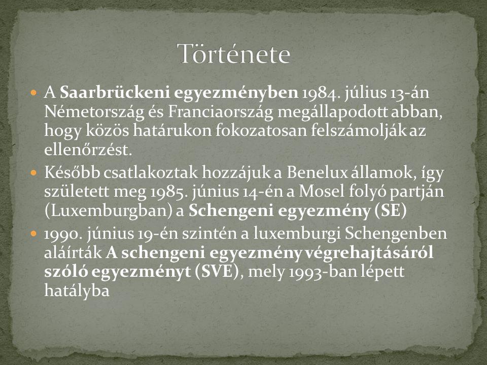 A Saarbrückeni egyezményben 1984. július 13-án Németország és Franciaország megállapodott abban, hogy közös határukon fokozatosan felszámolják az elle