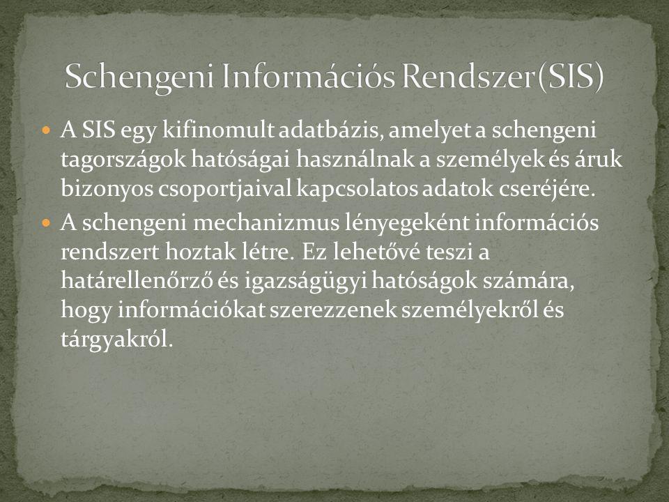 A SIS egy kifinomult adatbázis, amelyet a schengeni tagországok hatóságai használnak a személyek és áruk bizonyos csoportjaival kapcsolatos adatok cse