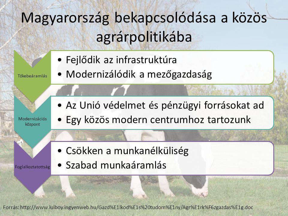 Magyarország bekapcsolódása a közös agrárpolitikába Tőkebeáramlás Fejlődik az infrastruktúra Modernizálódik a mezőgazdaság Modernizációs központ Az Unió védelmet és pénzügyi forrásokat ad Egy közös modern centrumhoz tartozunk Foglalkoztatottság Csökken a munkanélküliség Szabad munkaáramlás Forrás: http://www.luiboy.ingyenweb.hu/Gazd%E1lkod%E1s%20tudom%E1ny/Agr%E1rk%F6zgazdas%E1g.doc