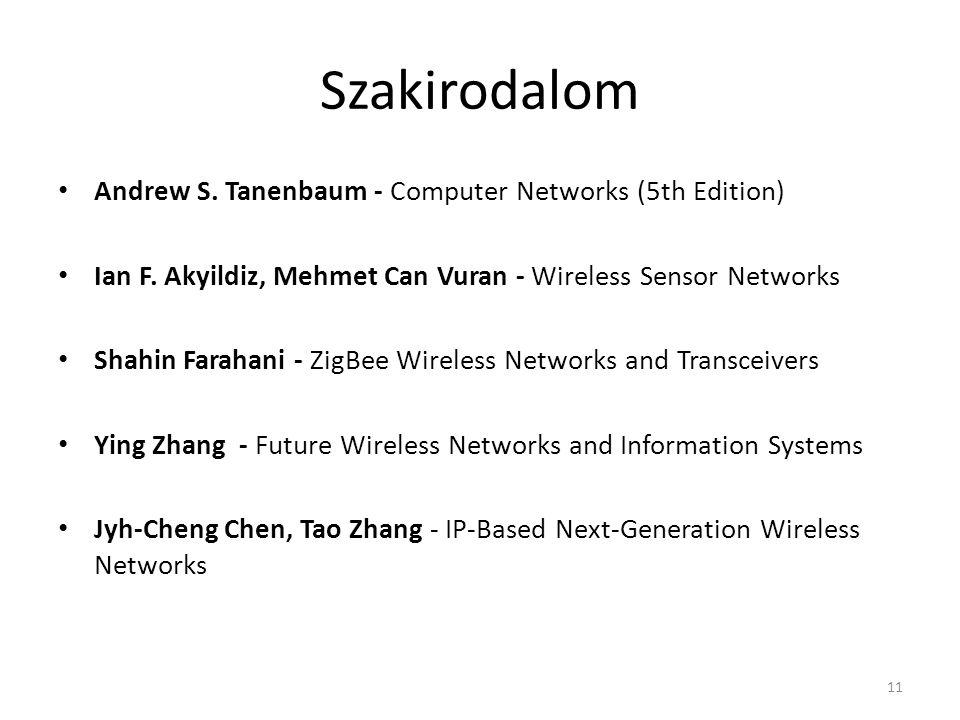 Szakirodalom Andrew S. Tanenbaum - Computer Networks (5th Edition) Ian F.