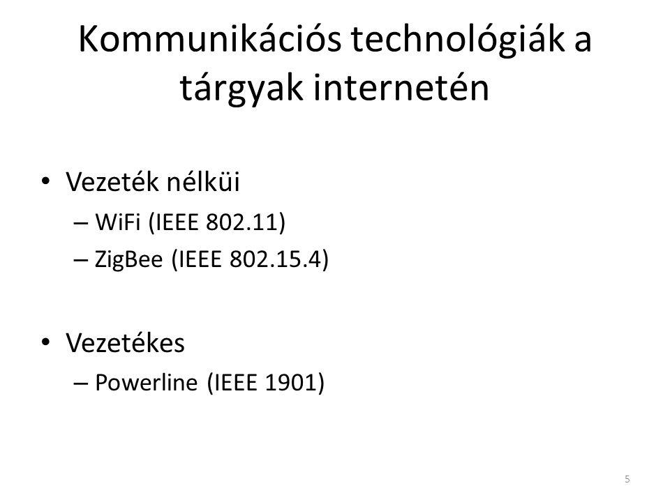 Kommunikációs technológiák a tárgyak internetén Vezeték nélküi – WiFi (IEEE 802.11) – ZigBee (IEEE 802.15.4) Vezetékes – Powerline (IEEE 1901) 5