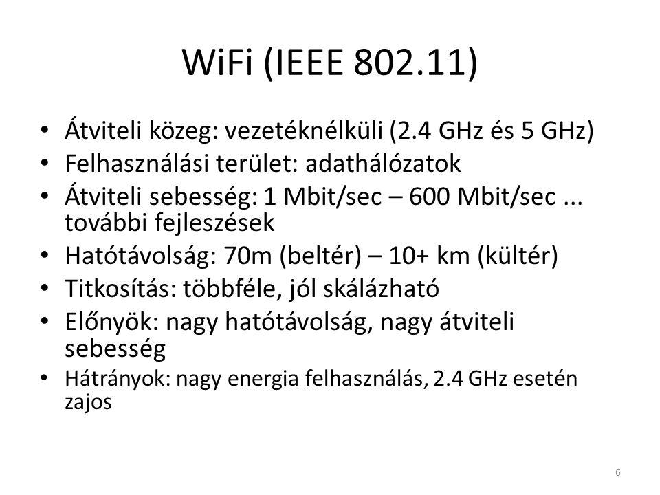 WiFi (IEEE 802.11) Átviteli közeg: vezetéknélküli (2.4 GHz és 5 GHz) Felhasználási terület: adathálózatok Átviteli sebesség: 1 Mbit/sec – 600 Mbit/sec...