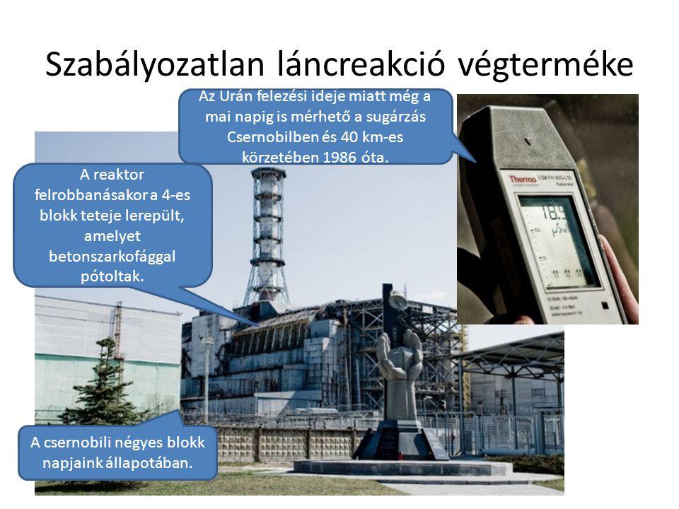Szabályozatlan láncreakció végterméke Debreceni Egyetem Műszaki Kar A csernobili négyes blokk napjaink állapotában. Az Urán felezési ideje miatt még a