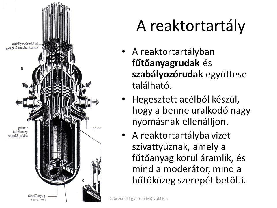A reaktortartály A reaktortartályban fűtőanyagrudak és szabályozórudak együttese található. Hegesztett acélból készül, hogy a benne uralkodó nagy nyom