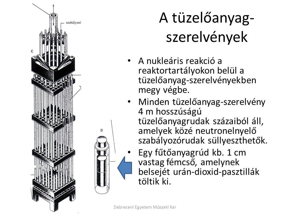 A tüzelőanyag- szerelvények A nukleáris reakció a reaktortartályokon belül a tüzelőanyag-szerelvényekben megy végbe. Minden tüzelőanyag-szerelvény 4 m