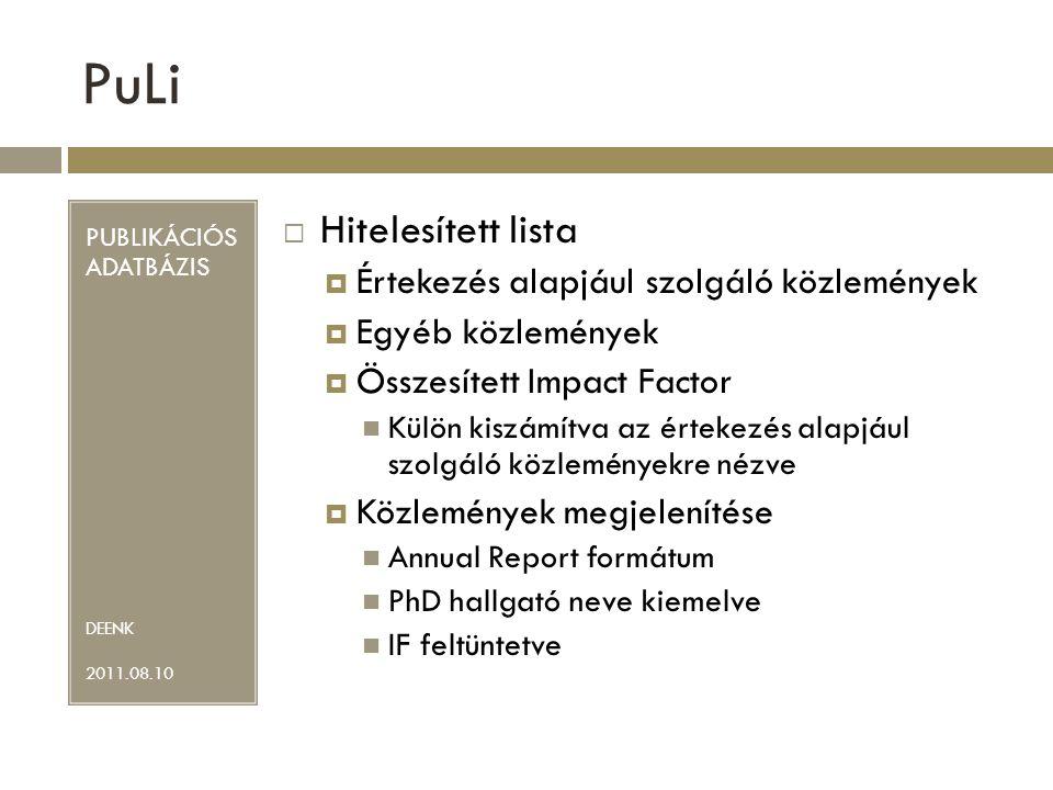 PuLi PUBLIKÁCIÓS ADATBÁZIS DEENK 2011.08.10  Hitelesített lista  Értekezés alapjául szolgáló közlemények  Egyéb közlemények  Összesített Impact Factor Külön kiszámítva az értekezés alapjául szolgáló közleményekre nézve  Közlemények megjelenítése Annual Report formátum PhD hallgató neve kiemelve IF feltüntetve