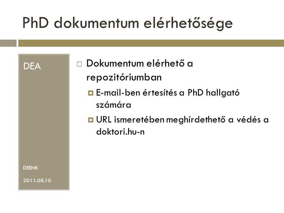 PhD dokumentum elérhetősége DEA DEENK 2011.08.10  Dokumentum elérhető a repozitóriumban  E-mail-ben értesítés a PhD hallgató számára  URL ismeretében meghírdethető a védés a doktori.hu-n