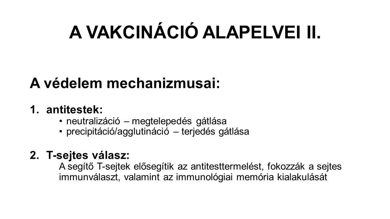 A VAKCINÁCIÓ ALAPELVEI II. A védelem mechanizmusai: 1.antitestek: neutralizáció – megtelepedés gátlása precipitáció/agglutináció – terjedés gátlása 2.