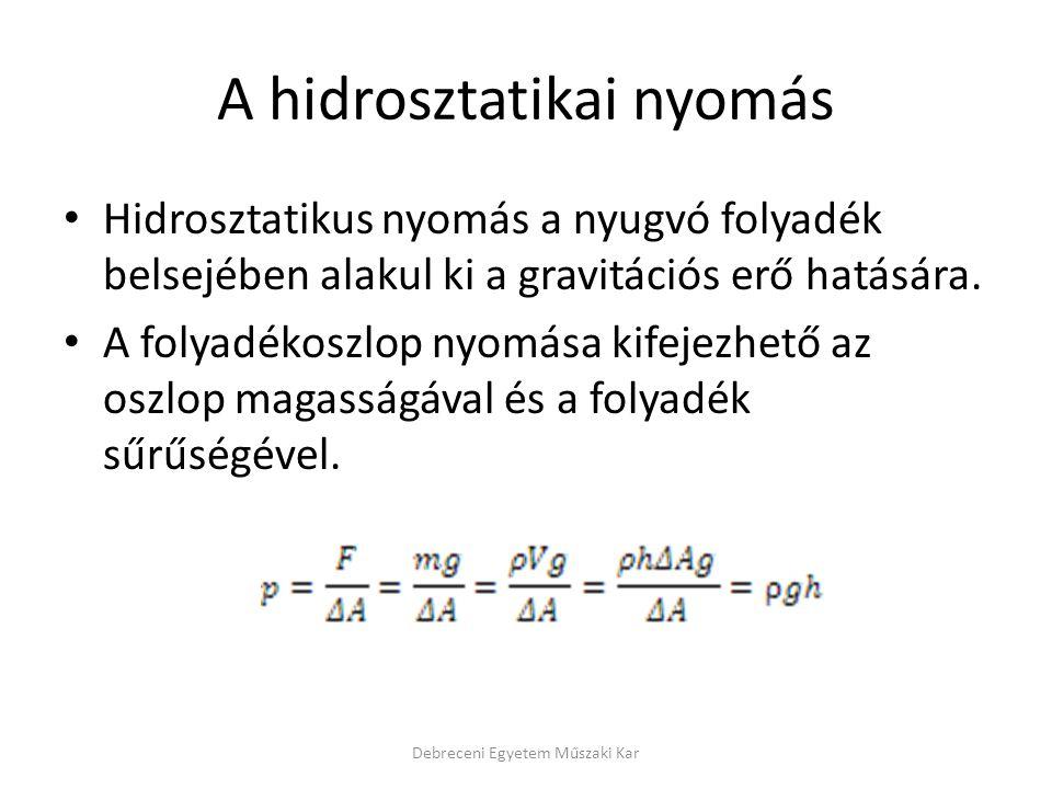 Hidrodinamika Debreceni Egyetem Műszaki Kar