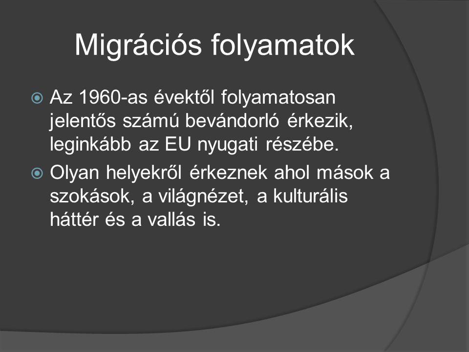 Migrációs folyamatok  Az 1960-as évektől folyamatosan jelentős számú bevándorló érkezik, leginkább az EU nyugati részébe.  Olyan helyekről érkeznek