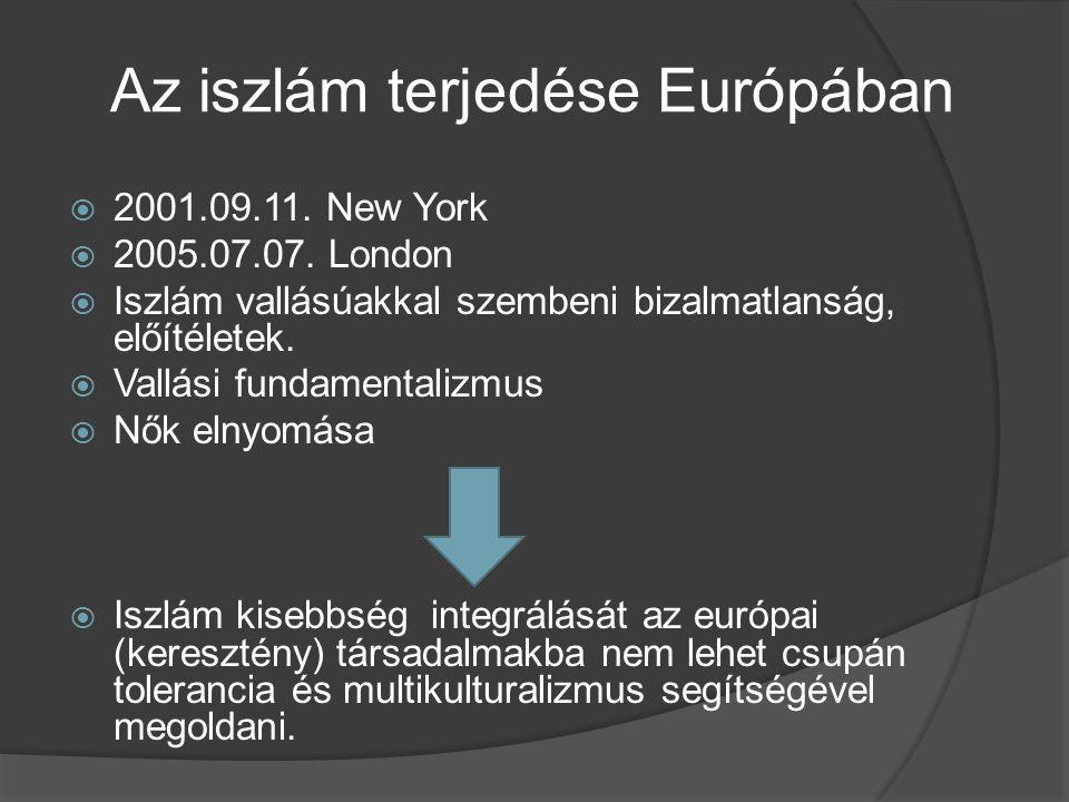 Az iszlám terjedése Európában  2001.09.11. New York  2005.07.07. London  Iszlám vallásúakkal szembeni bizalmatlanság, előítéletek.  Vallási fundam