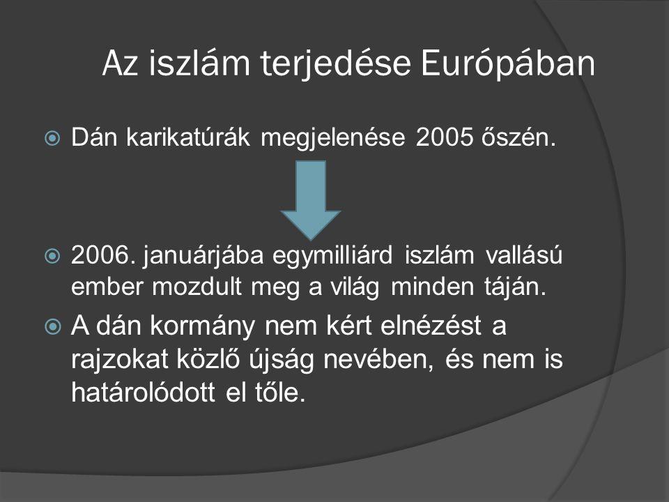 Az iszlám terjedése Európában  Dán karikatúrák megjelenése 2005 őszén.  2006. januárjába egymilliárd iszlám vallású ember mozdult meg a világ minden