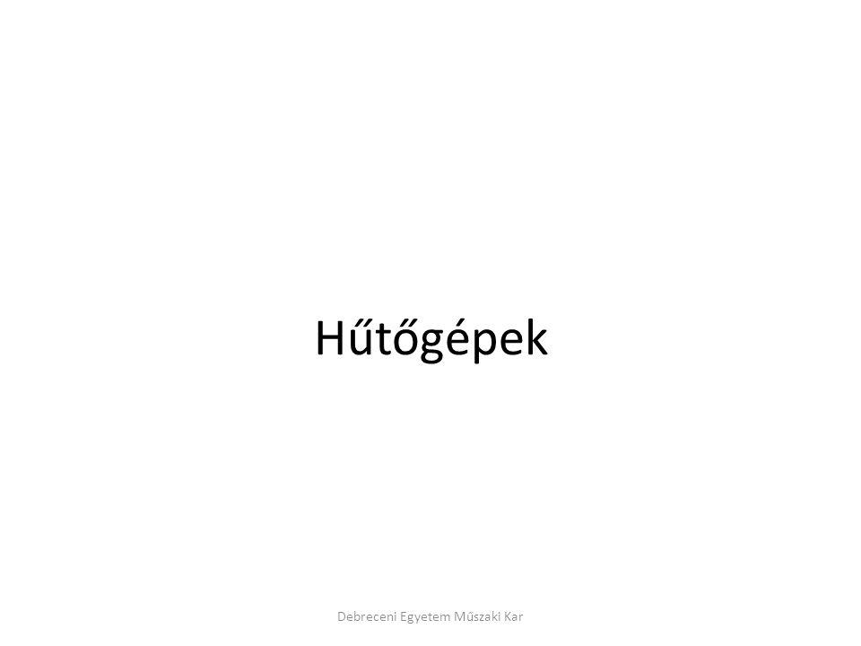 Abszorpciós hűtőgépek közegpárosítása Debreceni Egyetem Műszaki Kar HűtőközegkéntOldószerként VízLítium-bromoid oldat Metil-kloridTetraetilén-glikol- dimetilészter