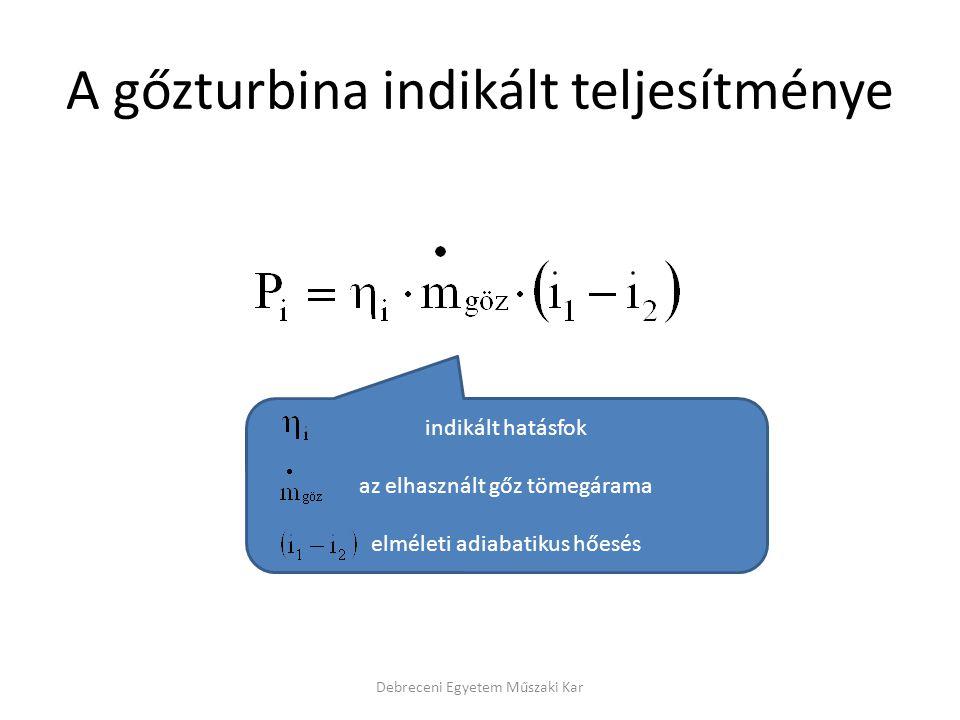 A gőzturbina indikált teljesítménye Debreceni Egyetem Műszaki Kar indikált hatásfok az elhasznált gőz tömegárama elméleti adiabatikus hőesés