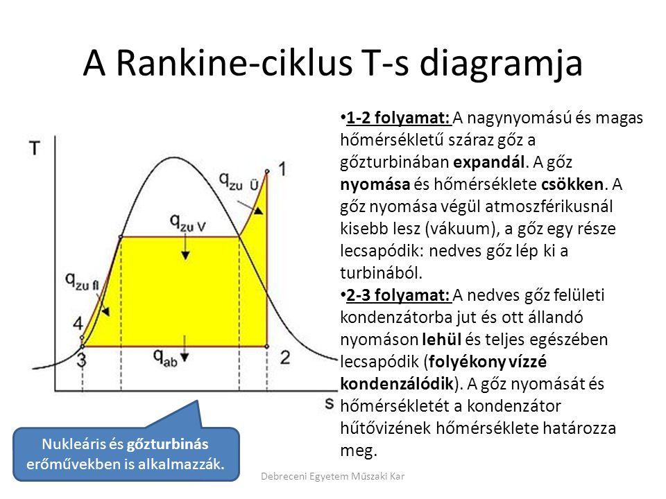 A Rankine-ciklus T-s diagramja Debreceni Egyetem Műszaki Kar 1-2 folyamat: A nagynyomású és magas hőmérsékletű száraz gőz a gőzturbinában expandál. A