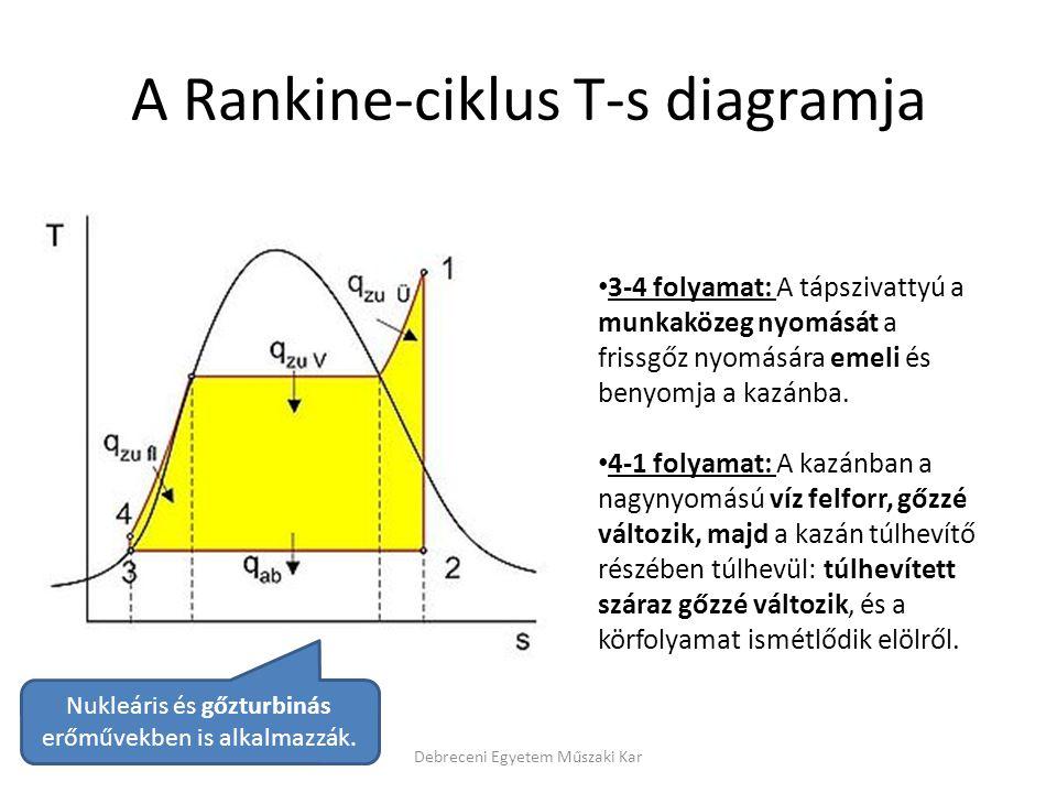 A Rankine-ciklus T-s diagramja Debreceni Egyetem Műszaki Kar 3-4 folyamat: A tápszivattyú a munkaközeg nyomását a frissgőz nyomására emeli és benyomja